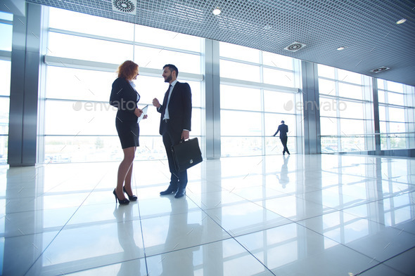 Meeting in office hall - Stock Photo - Images