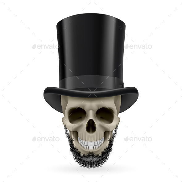 Human Skull with Beard and Hat On - Miscellaneous Vectors