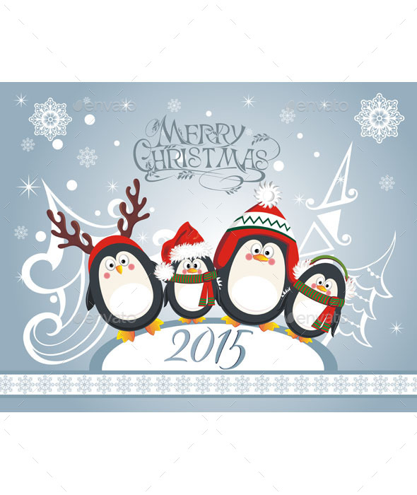 Christmas Card with Penguins - Animals Characters