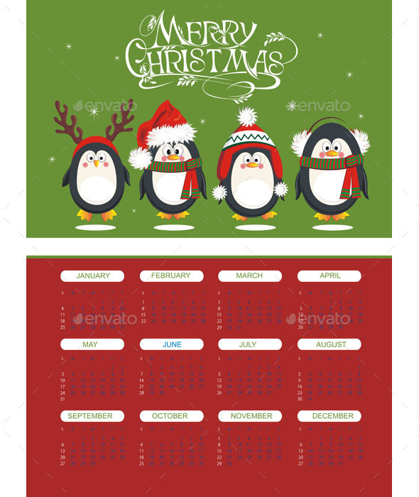 Merry Christmas Calendar with Penguins - Christmas Seasons/Holidays