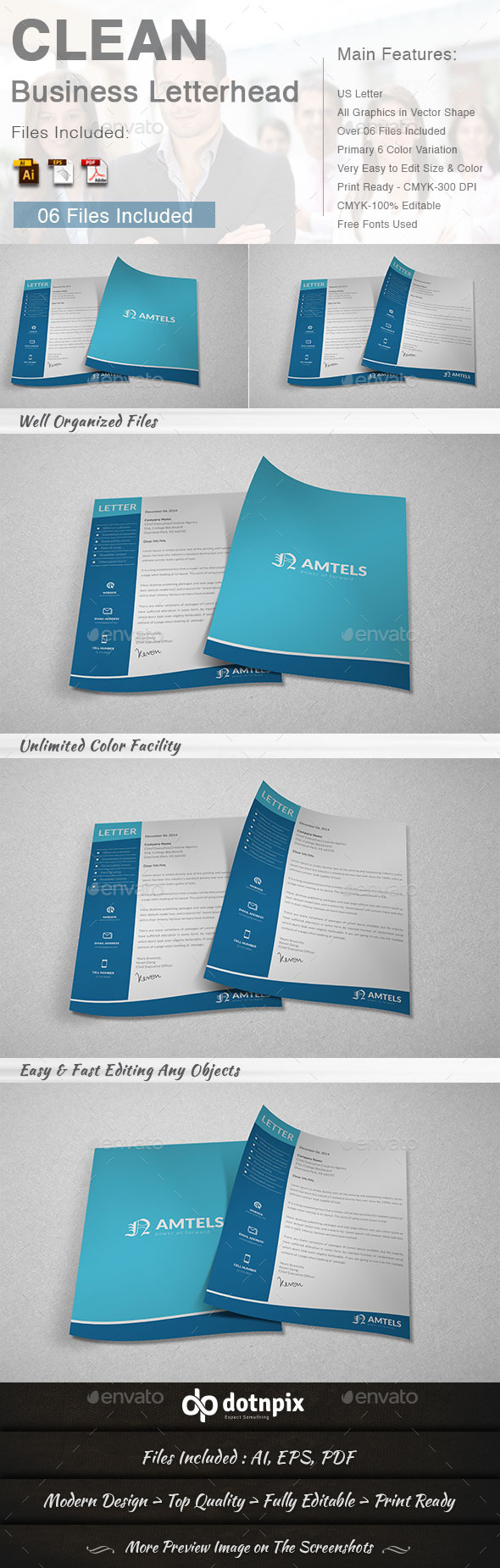 Clean Business Letterhead - Stationery Print Templates