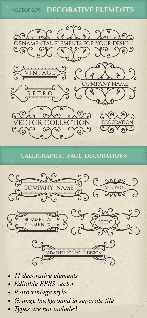 Vector Calligraphic Design Elements - Flourishes / Swirls Decorative