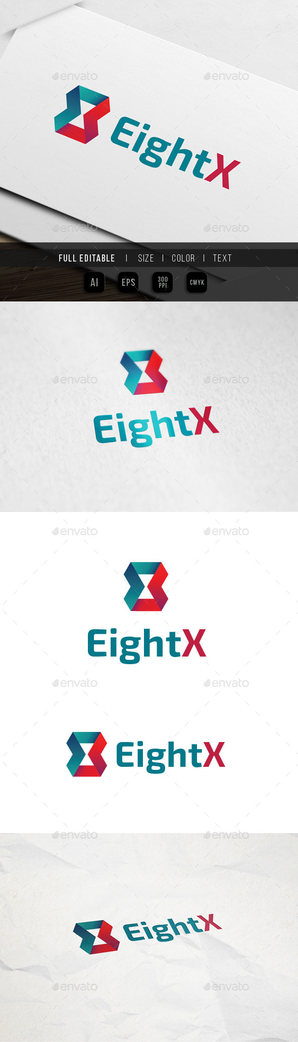Eight x - Ribbon - Feedback Logo - Numbers Logo Templates