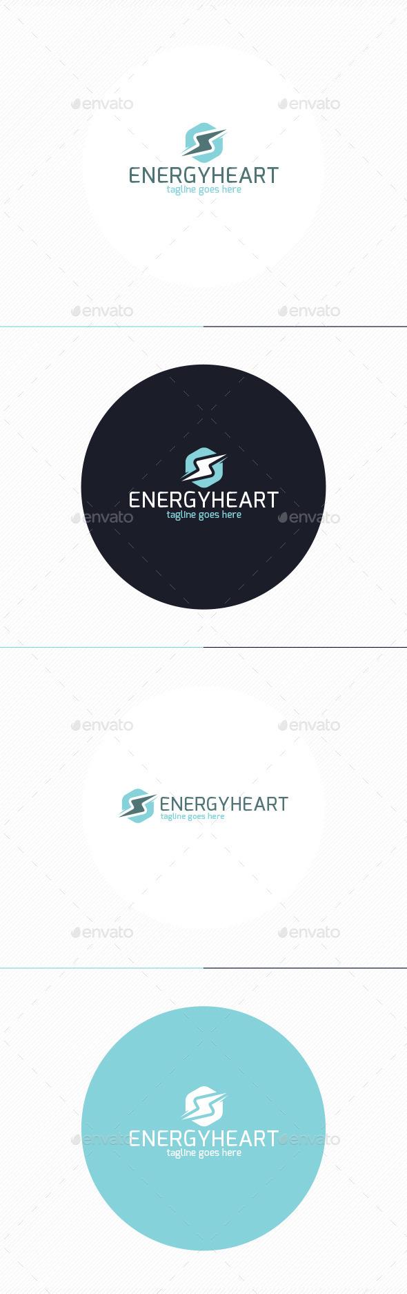 Energy Heart Logo - Vector Abstract