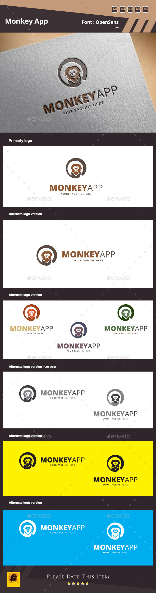 Monkey App Logo Template - Animals Logo Templates