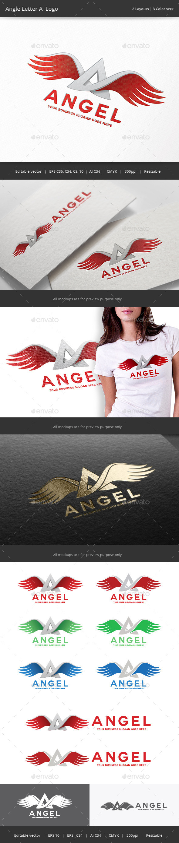 Angel Wing Letter A Logo - Letters Logo Templates