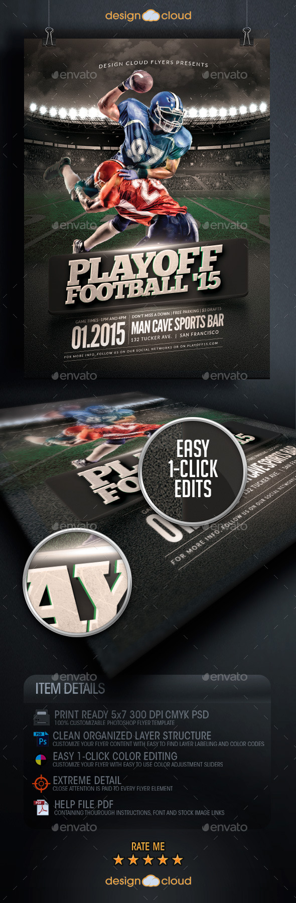 Playoff Football Flyer Template - Sports Events