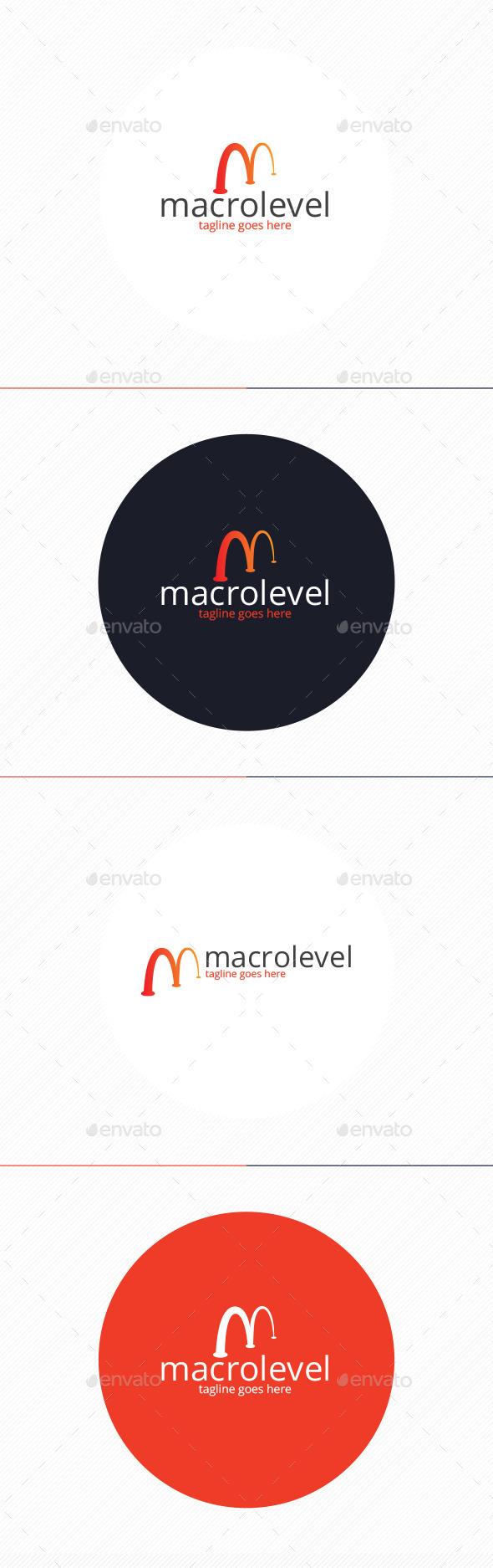 Macro Level Logo • Letter M - Letters Logo Templates