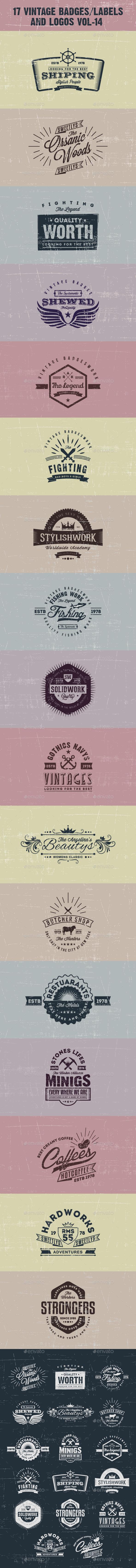 17 Vintage Badges/labels and Logos Vol-14 - Badges & Stickers Web Elements