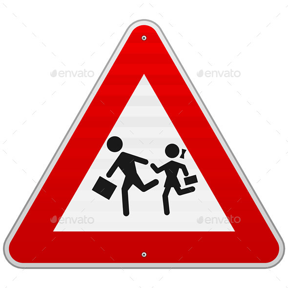 Pedestrian Danger Sign - People Characters