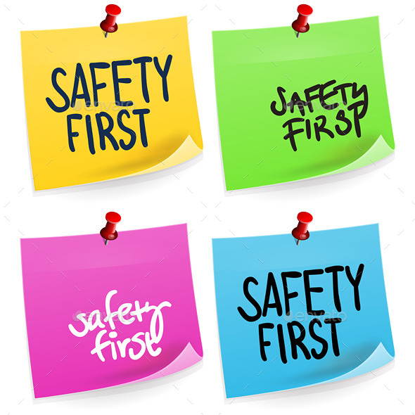 Safety First Sticky Note - Services Commercial / Shopping