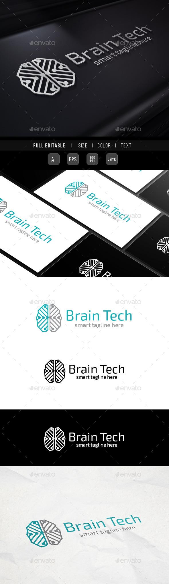 Brain Genius - Network Tech - Abstract Logo Templates