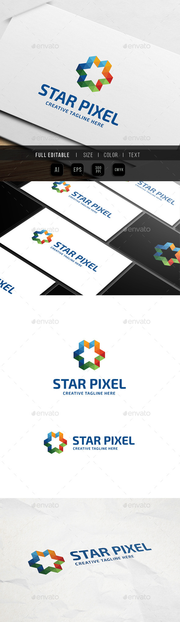 Star Triangle Pixel Logo - Abstract Logo Templates