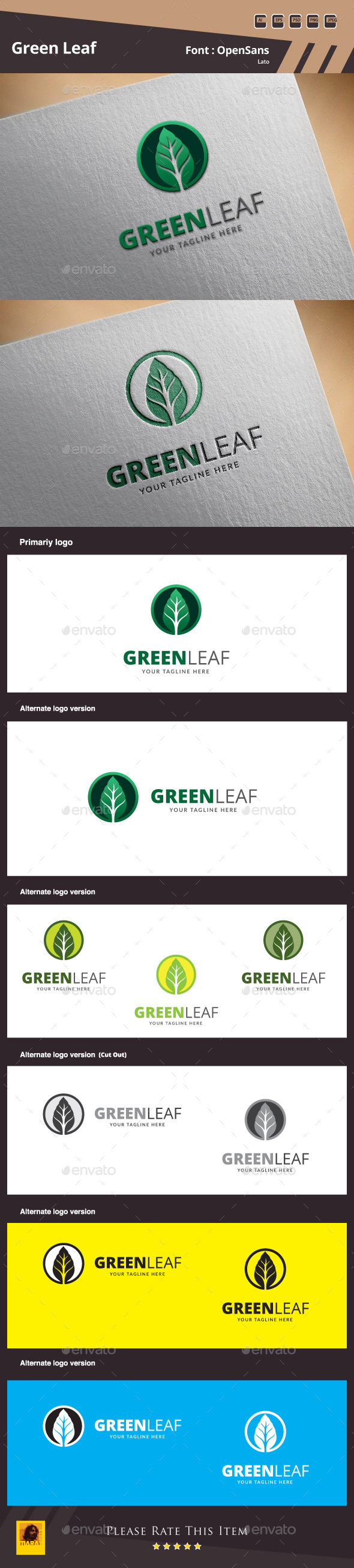 Green Leaf Logo Template - Nature Logo Templates