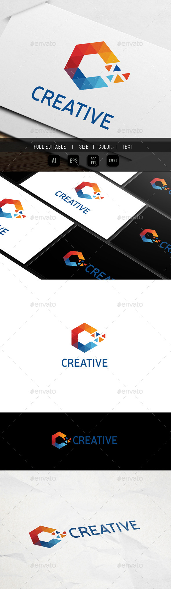 Letter C - Triangle Pixel - Letters Logo Templates
