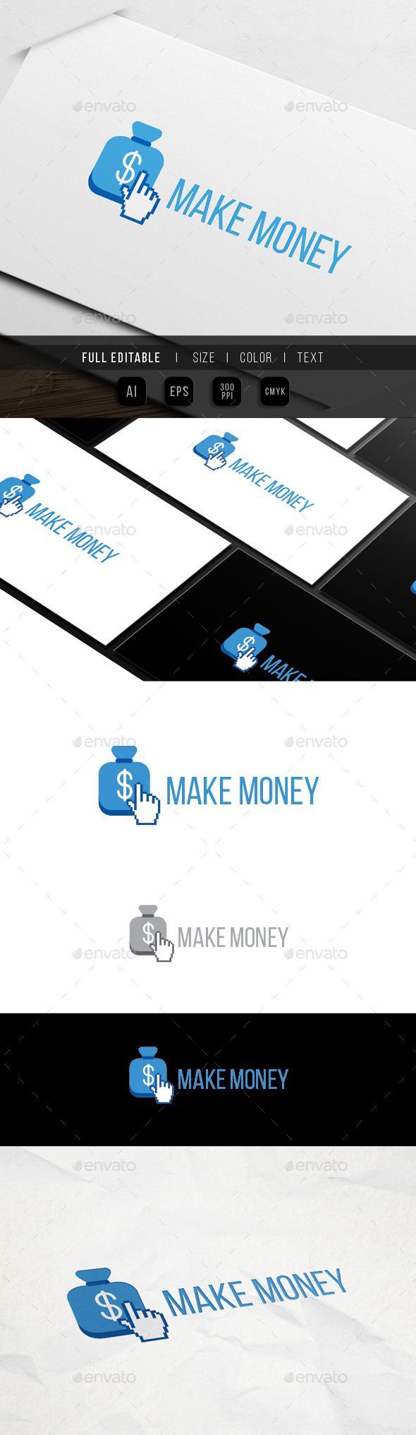 Click Money - Make Earn - Objects Logo Templates