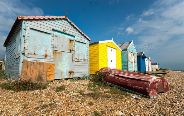 Beach Huts at Hastings - Stock Photo - Images