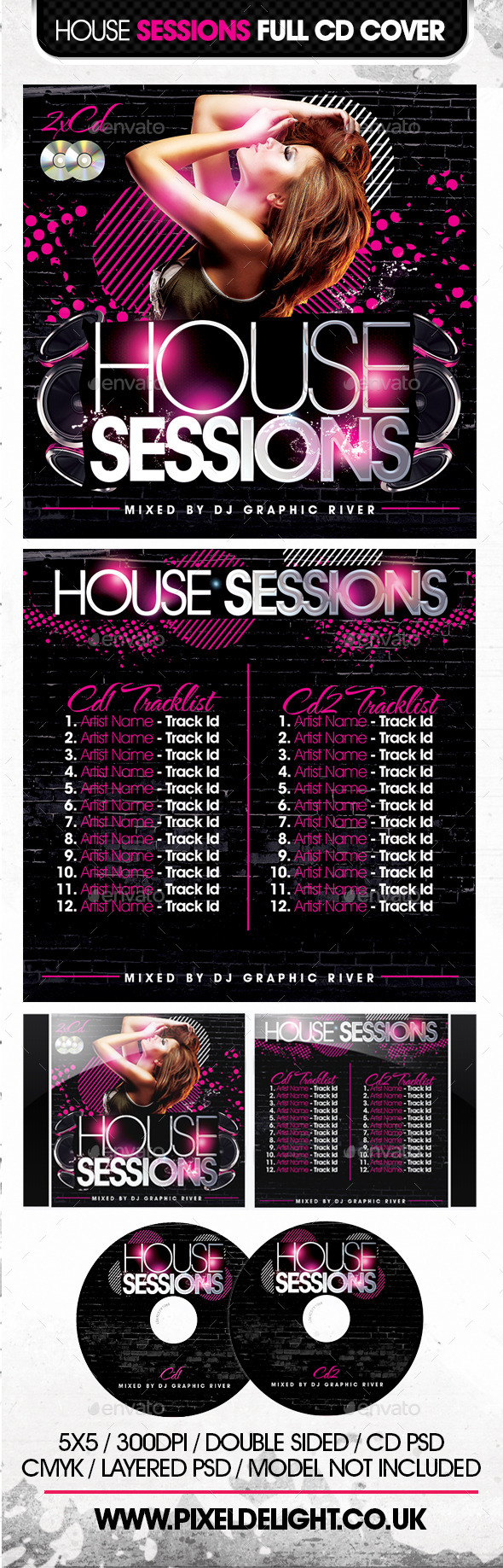 House Sessions CD Cover - CD & DVD Artwork Print Templates