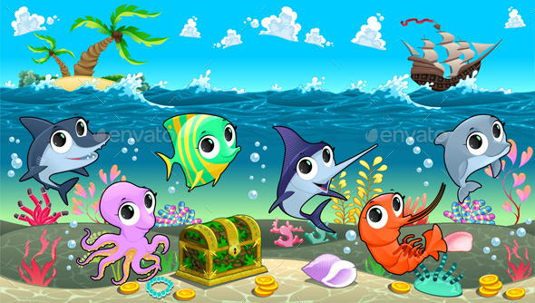 Marine Animals in the Sea with Galleon - Animals Characters