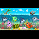 Marine Animals in the Sea with Galleon - GraphicRiver Item for Sale