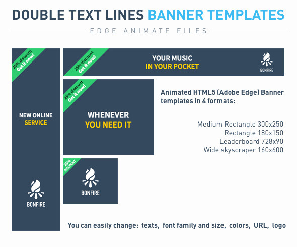 Double text lines Banner templates - CodeCanyon Item for Sale