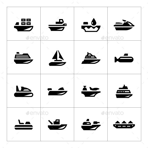 Set Icons of Water Transport - Man-made objects Objects