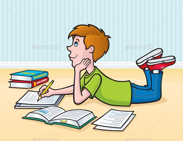 Kid Doing Homework on the Floor - People Characters