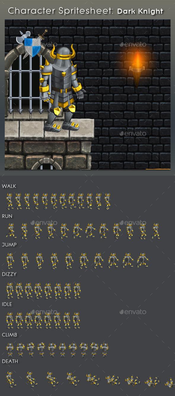 Character Spritesheet: Dark Knight - Sprites Game Assets