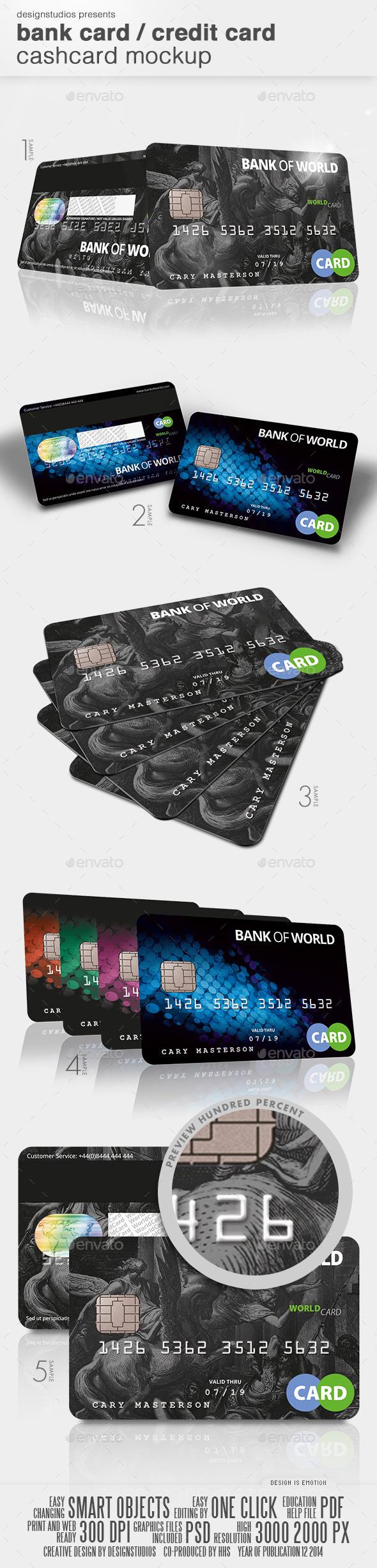 Bank Card / Credit Card CashCard Mock-Up - Product Mock-Ups Graphics