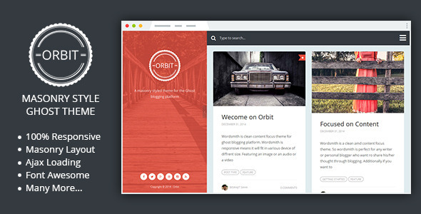 Orbit – Masonry Style Responsive Ghost Theme