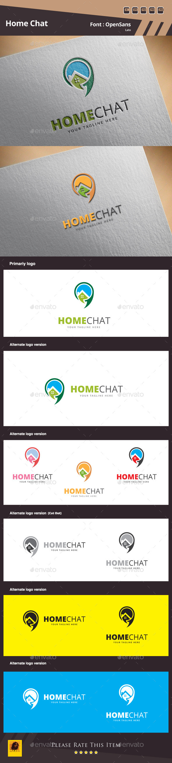 Home Chat Logo Template - Buildings Logo Templates