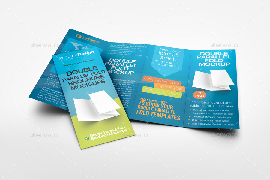 Double parallel fold brochure mockup by bagera graphicriver for Double parallel fold brochure template