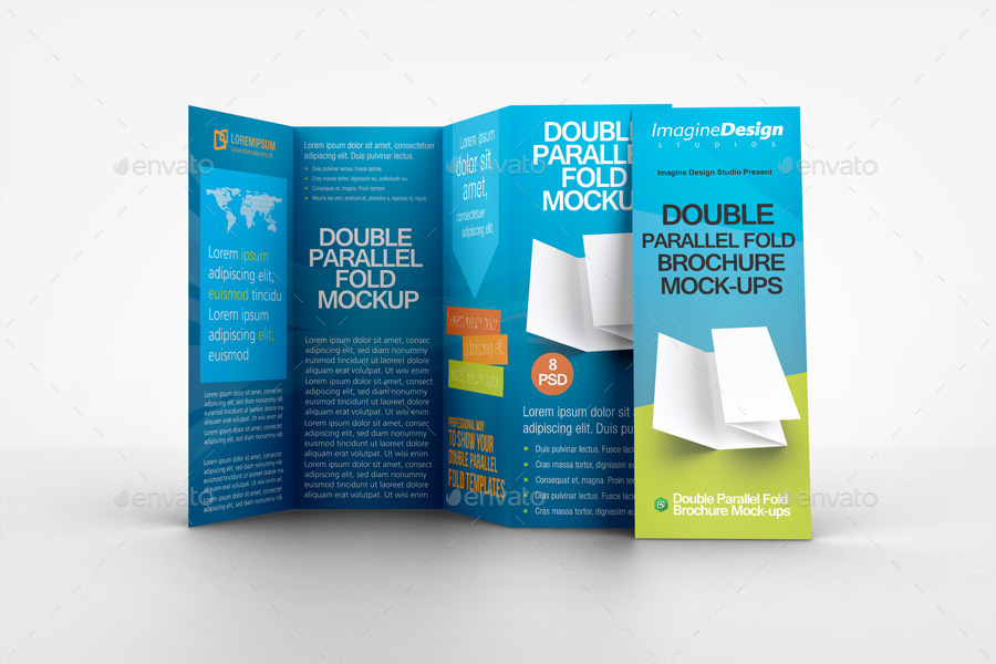 Double parallel fold brochure mockup by bagera graphicriver for Double fold brochure template