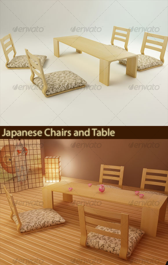 Japanese Chairs And Table   3DOcean Item For Sale