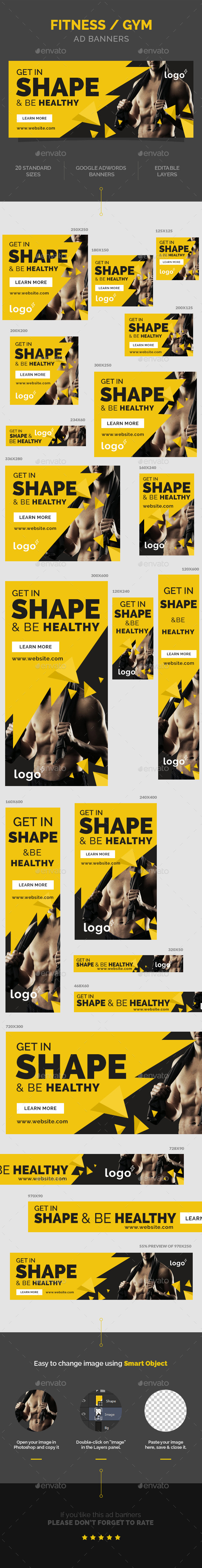 Fitness / Gym Ad Banners - Banners & Ads Web Elements