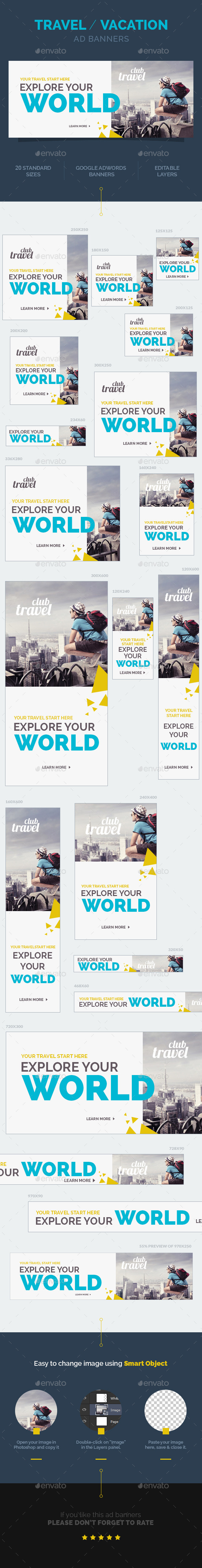 Travel / Vacation Ad Banners - Banners & Ads Web Elements