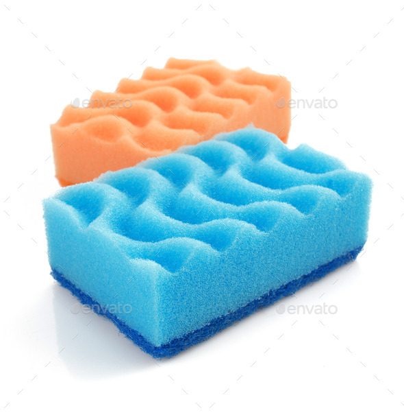 cleaning sponge on white - Stock Photo - Images