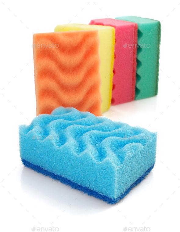 cleaning sponge on white - Stock Photo - Images
