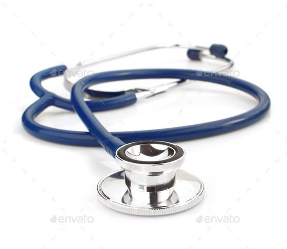 medical stethoscope on white - Stock Photo - Images