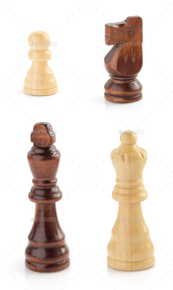 chess figures on white - Stock Photo - Images