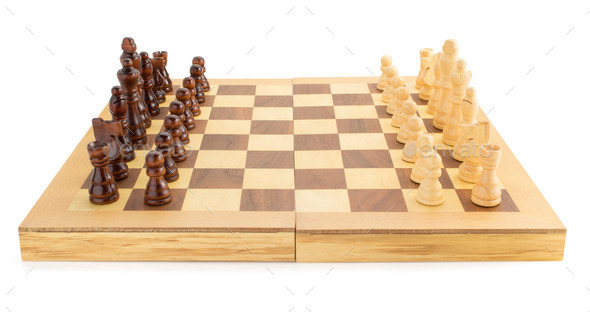 chess figures on board at white - Stock Photo - Images