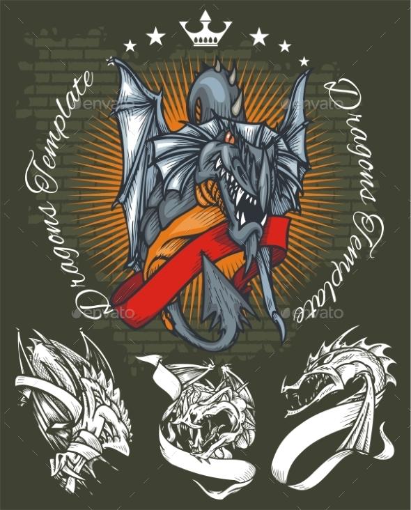 Dragons and Ribbons Set - Tattoos Vectors