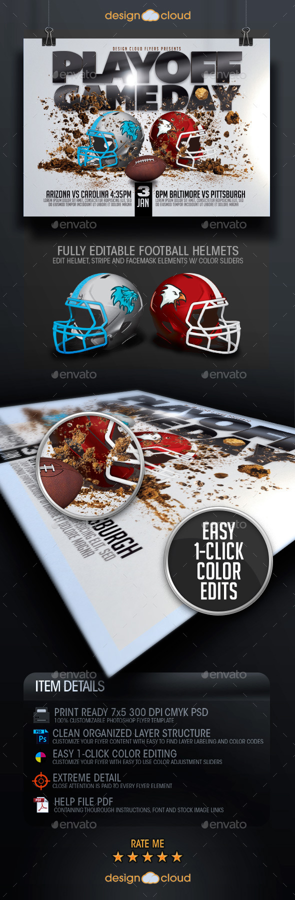 Playoff Game Day Football Flyer Template - Sports Events