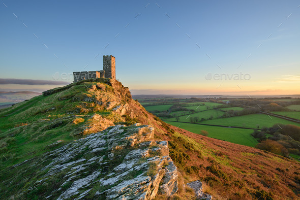 Brentor on Dartmoor - Stock Photo - Images