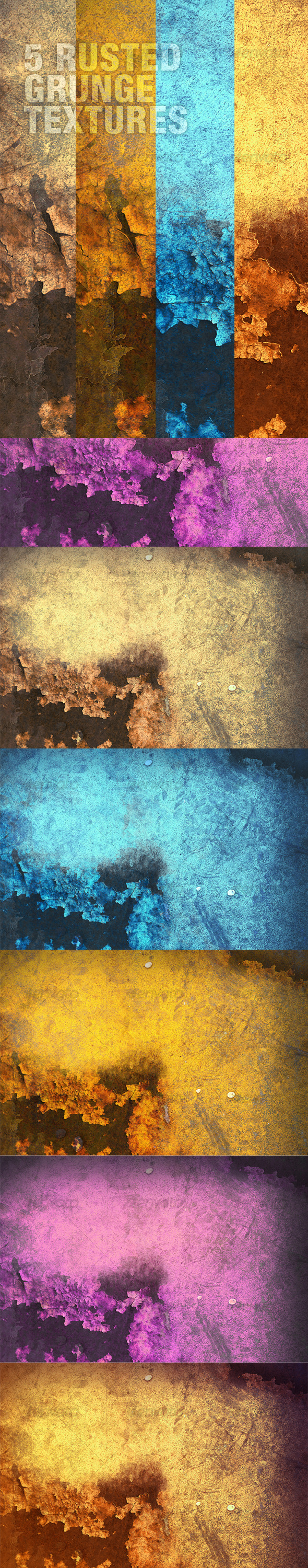 A Rusted Grunge Textures Pack in 5 Colours - Industrial / Grunge Textures