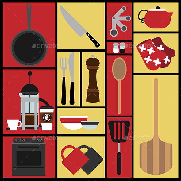 Set of 15 Kitchen Illustrations - Food Objects