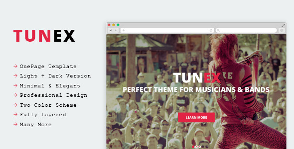 TUNEX – Music & Entertainment PSD Template