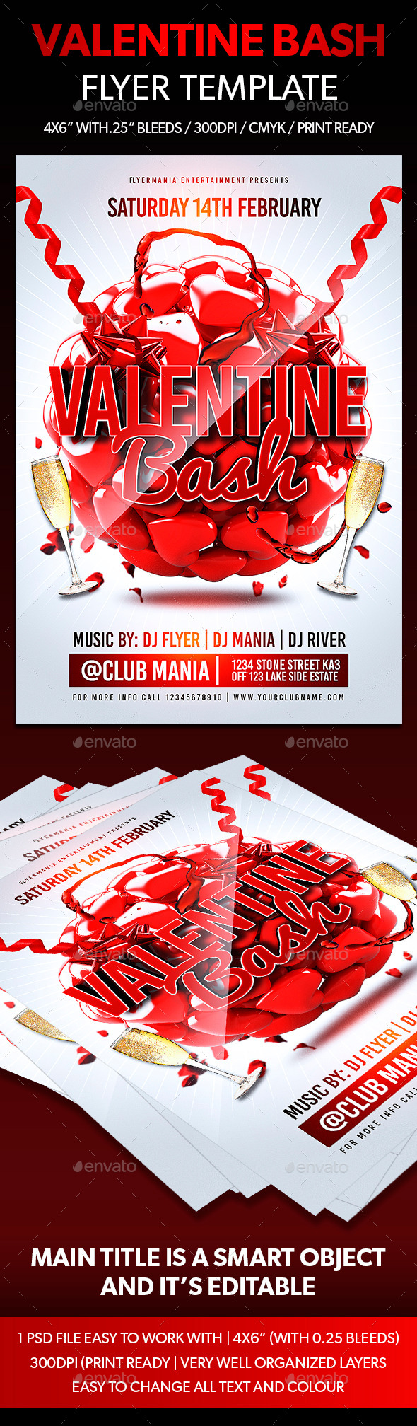 Valentine Bash Flyer Template  - Flyers Print Templates