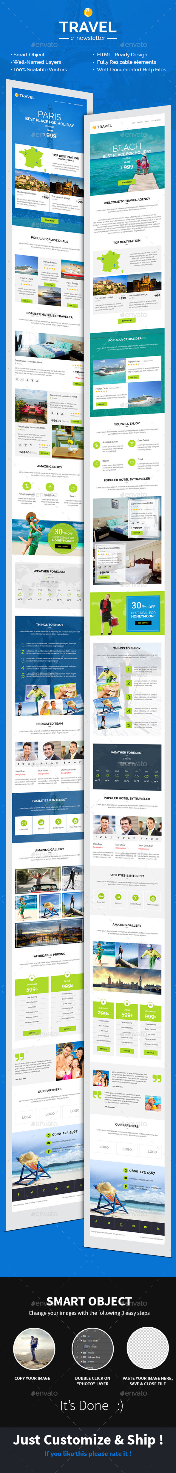Travel/Hotel E-newsletter PSD Template - E-newsletters Web Elements