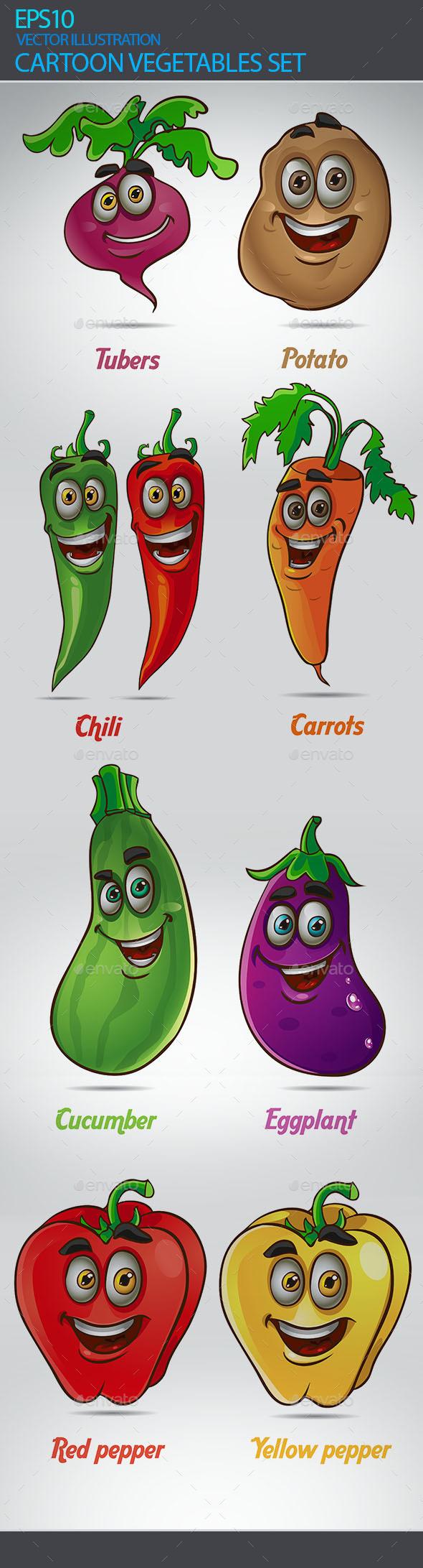 Cartoon Vegetables Set - Flowers & Plants Nature